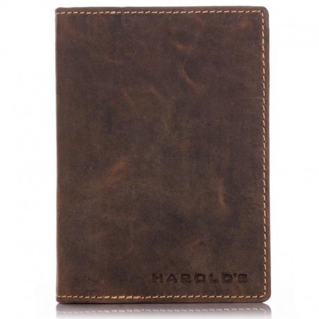 Duży brązowy skórzany portfel męski