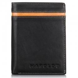 Skórzany czarny męski portfel harold's