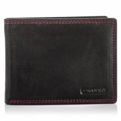 Czarny skórzany portfel z czerwoną nicią