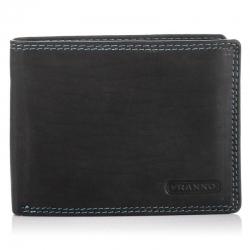 Czarny skórzany portfel z niebieską nicią