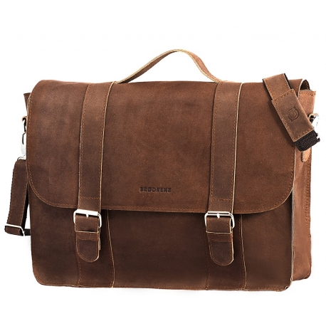 Skórzana torba na ramię Brodrene BL11XL jasny brąz listonoszka