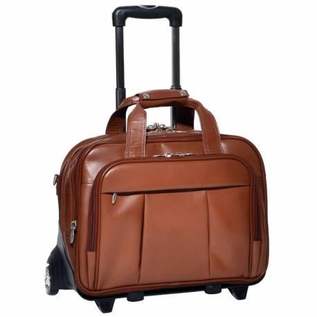 Podróżna torba na kółkach męska walizka mcklein brązowa