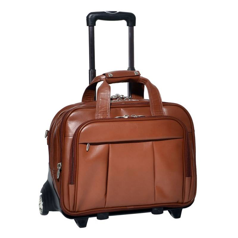 a5d59815289b5 Podróżna torba na kółkach męska walizka mcklein brązowa - Gentle Man