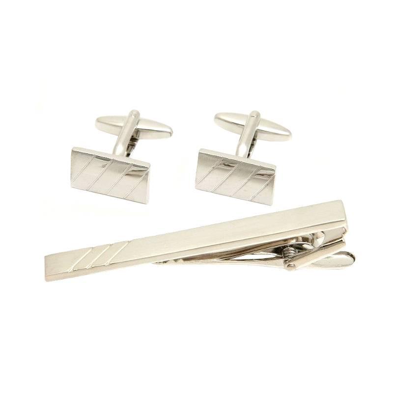 4b248c35d4639 Komplet eleganckich spinek srebrnych + spinka do krawata - Gentle Man