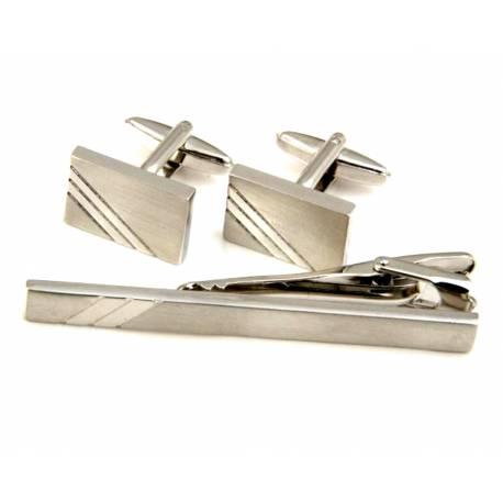 b9b3c5aa9c703 ... srebrnych do mankietów + spinka do krawata. Komplet spinek męskich  srebnych