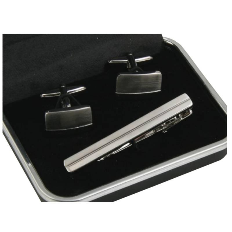 ea2d6bc50b5ae Komplet spinek srebrnych do krawata i mankietów - Gentle Man