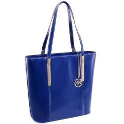Niebieska skórzana torebka damska