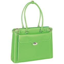Zielona skórzana torebka damska