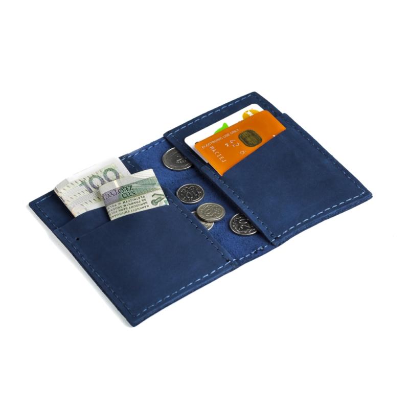 812c744c5a8d8 Granatowy skórzany portfel slim wallet brodrene sw03 - Gentle Man