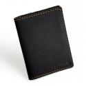 Czarny cienki portfel ze skóry naturalnej z bilonem slim wallet brodrene sw04