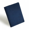 Granatowy cienki portfel ze skóry naturalnej z bilonem slim wallet brodrene sw04