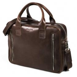 Skórzana torba na ramię na laptop brodrene r02 ciemny brąz