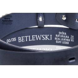 5a98e449b3613 ... Skórzany pasek do spodni Betlewski lic35-0 gnieciony granat