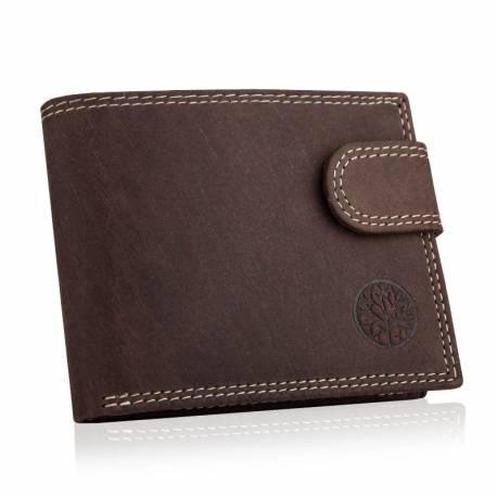 Skórzany męski portfel betlewski na patkę rfid BPM-ND-72 brązowy