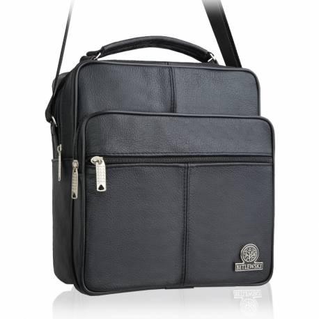 Czarna męska torba na ramię skórzana betlewski btg-04