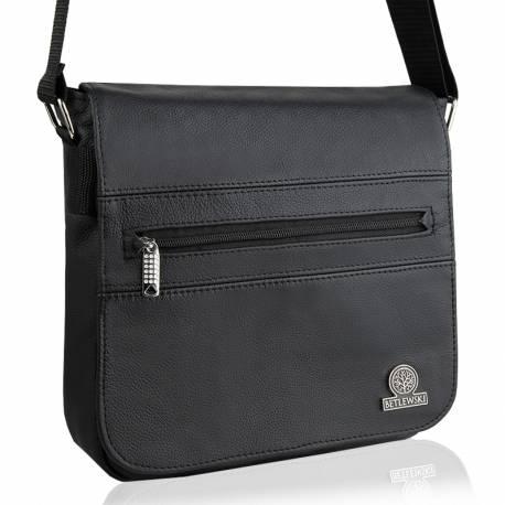 Skórzana saszetka torba na ramię betlewski btg 06 czarna