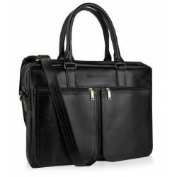 Skórzana torba na ramię laptop betlewski btm-02 czarna