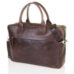 Męska torba na ramię laptop Brodrene BL03 ciemny brąz