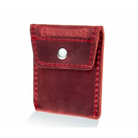 Skórzany portfel na monety bilonówka brodrene CW02 czerwony