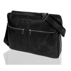 Skórzana torba na ramię raportówka na laptop brodrene bl19 czarna