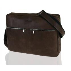 Skórzana torba na ramię raportówka na laptop brodrene bl19 ciemny brąz