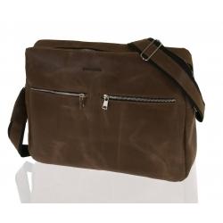 Skórzana torba na ramię raportówka na laptop brodrene bl19 jasny brąz
