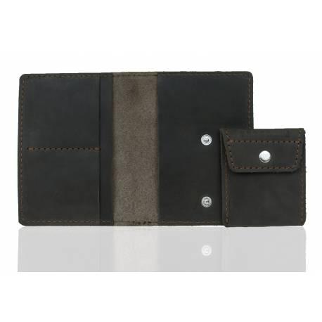 Elegancki portfel ze skóry na karty i monety brodrene sw01+ ciemny brąz
