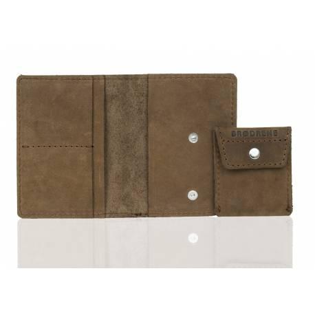 Elegancki portfel ze skóry na karty i monety brodrene sw01+ jasny brąz