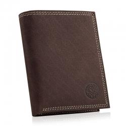 Męski skórzany portfel vintage Betlewski nubuk BPM-ND-62 RFID brązowy