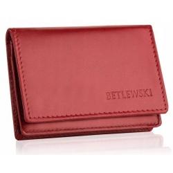 Skórzany mały portfel etui na wizytówki betlewski bez-06 czerwony
