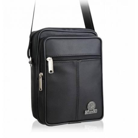 Czarna skórzana saszetka torba na ramię betlewski btg-05