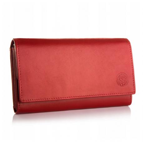 Skórzany portfel rfid betlewski bpd-dz 15 czerwony