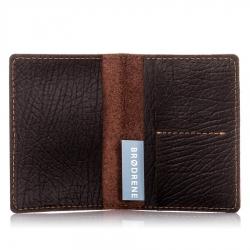 Męski cienki portfel ze skóry brodrene sw01 cortez ciemny brąz