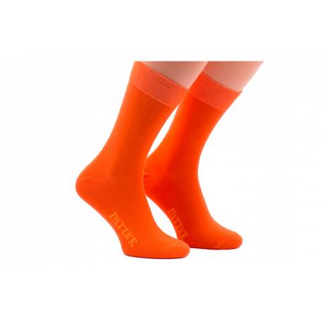 Pomarańczowe męskie skarpety do garnituru patine