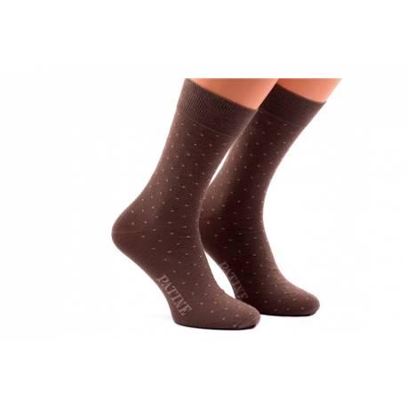 Brązowe męskie skarpetki w groszki patine socks