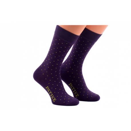 Męskie fioletowe skarpety w groszki patine socks