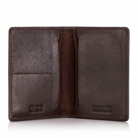 Cienki portfel z ochroną rfid brodrene sw-s1 ciemny brąz
