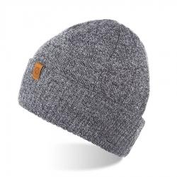 Ciepła czapka męska zimowa brodrene cz8 jasnoszara mulina