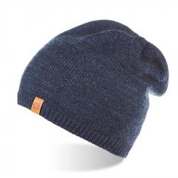 Męska czapka zimowa z polarowym podszyciem brodrene cz2 granatowa mulina