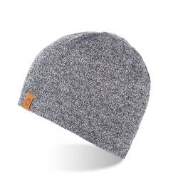 Ciepła czapka męska na zimę z polarem brodrene cz1 jasnoszara mulina
