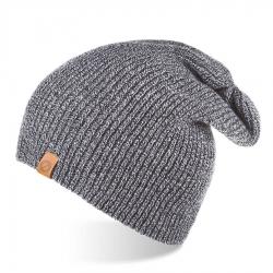 Jesienna czapka męska smerfetka brodrene cz7 jasnoszara mulina