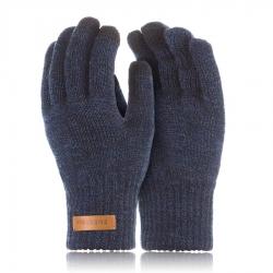 Męskie rękawiczki zimowe do smartfonów brodrene r1 granatowa mulina