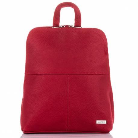 Damski plecak ze skóry paolo peruzzi b-15 czerwony