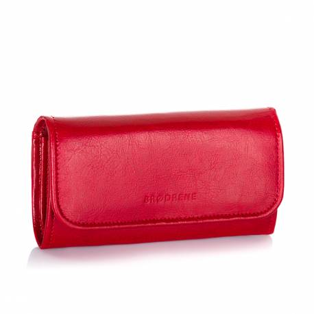 Elegancki damski portfel skórzany brodrene a-11 czerwony