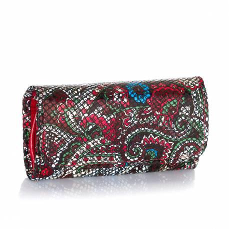 Duży damski skórzany portfel we wzory a-16 czerwony