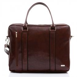 Męska torba na ramię z miejscem na laptop paolo peruzzi 069-pu brązowa
