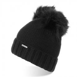 Damska czapka zimowa z polarem i pomponami brodrene cz22 czarna