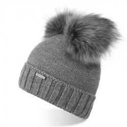 Damska czapka zimowa z pomponem brodrene cz22 jasnoszara