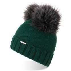 Ciepła czapka damska na zimę czapka z pomponem brodrene cz22 butelkowa zieleń