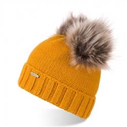 Zimowa czapka z pomponami brodrene cz22 miodowa